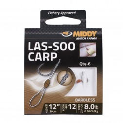 Middy Las-Soo Carp Pellet Hooks to Nylon 12-8.0lb (6pc)
