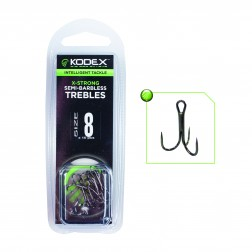 Kodex X-Strong Pike Treble Hooks:Semi Barbless (10pc)