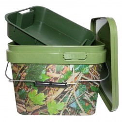 Lemco Camo Square Bait Bucket With Insert 10L